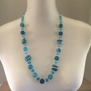 Handcrafted blue and white glass bead necklace